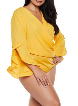 Plus Size Bell Sleeve Faux Wrap Bodysuit - 3803062122551