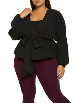 Plus Size Pleated Tie Front Top - 3803062122689