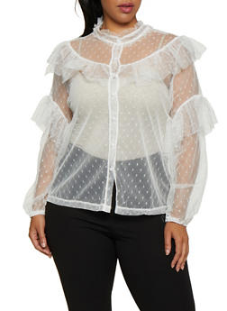 Plus Size Swiss Dot Mesh Ruffled Shirt - 3803062123849