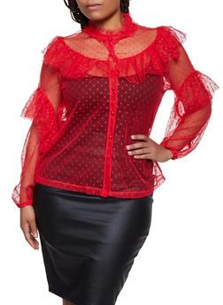 Plus Size Swiss Dot Mesh Ruffled Shirt - 3803062123849