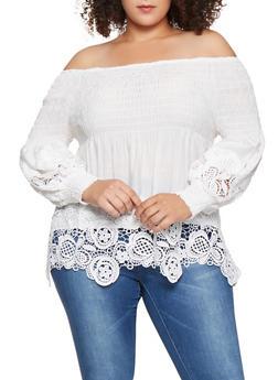 Plus Size Smocked Off the Shoulder Crochet Trim Top - 3803062124009