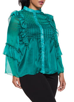 Plus Size Ruffled Bell Sleeve Blouse - 3803062124398