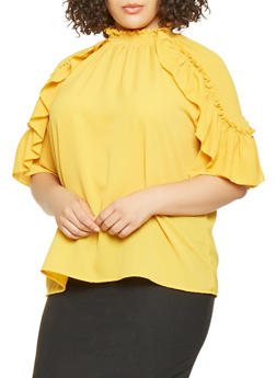 Plus Size Ruffle Trim Top - 3803062125015