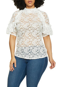Plus Size Lace Ruffle Detail Top - 3803062125018