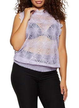 Plus Size Mesh Sequin Top - 3803062126186
