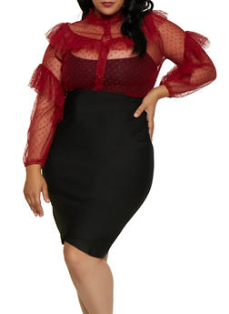 Plus Size Mesh Swiss Dot Shirt - 3803062126235