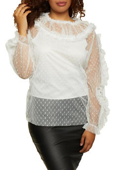 Plus Size Swiss Dot Mesh Top - 3803062126500