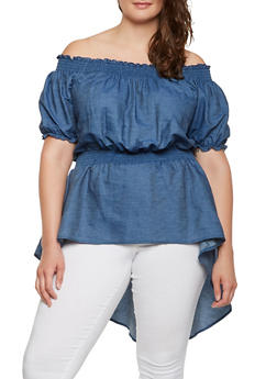 Plus Size Off the Shoulder Chambray Top - 3803062126505