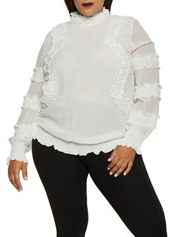 Plus Size Ruffle Smocked Blouse - 3803062126583