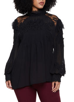 Plus Size Pleated Crochet Trim Top - 3803062126900