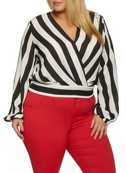 Plus Size Faux Wrap Striped Blouse - 3803062127142