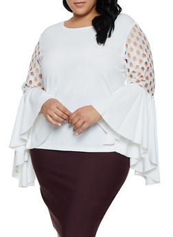 Plus Size Perforated Bell Sleeve Top - 3803062127663