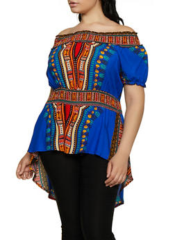 Plus Size African Print Off the Shoulder High Low Top - 3803062129001