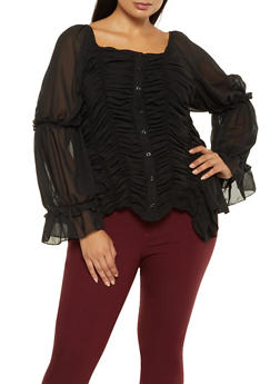 Plus Size Ruched Square Neck Shirt - 3803062129021
