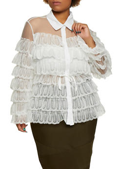 Plus Size Tiered Lace Button Front Shirt - 3803062129050
