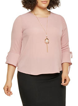 Plus Size Bell Sleeve Top with Necklace - 3803062702326