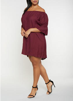 Plus Size Cinched Sleeve Off the Shoulder Top - 3803062702353