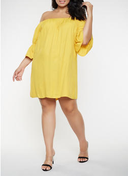 Plus Size Cinched Sleeve Off the Shoulder Dress - 3803062702353