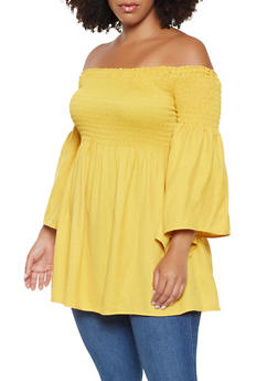 Plus Size Smocked Off the Shoulder Top - 3803062702376