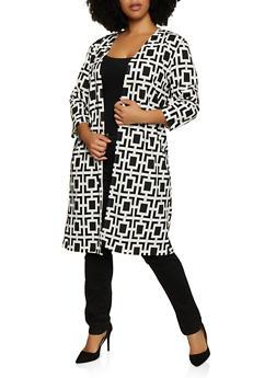 Plus Size Crepe Knit Printed Duster - IVORY - 3803062705181