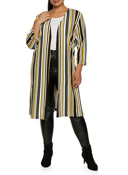Plus Size Crepe Knit Printed Duster - BLACK/WHITE - 3803062705181
