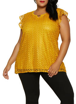 Plus Size Flutter Sleeve Lace Top - 3803062707267