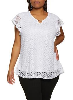 Plus Size Crochet Flutter Cap Sleeve Top - 3803062707268