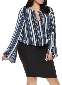 Plus Size Striped Faux Wrap Top - 3803063400420