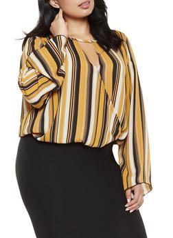Plus Size Striped Faux Wrap Top - 3803063400420
