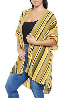 Plus Size Striped Crepe Knit Kimono - 3803063400582