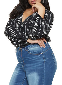 Plus Size Vertical Stripe Faux Wrap Top - 3803063407207