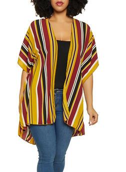 Plus Size Striped Crepe Knit Kimono - 3803063408658