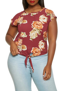 Plus Size Floral Tie Front Top - 3803066590034