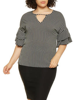 Plus Size Striped Tiered Sleeve Crepe Knit Top - 3803066590040