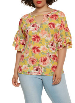 Plus Size Floral Tiered Sleeve Keyhole Top - 3803066590304