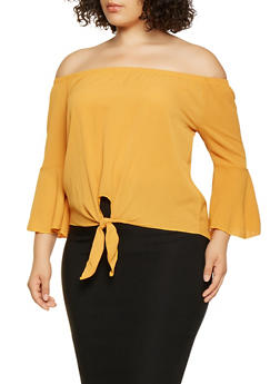 Plus Size Striped Off the Shoulder Top - 3803066591225