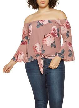 Plus Size Floral Off the Shoulder Top - 3803066592055