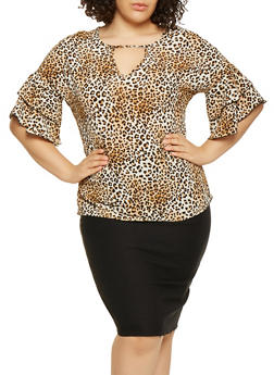 Plus Size Leopard Print Tiered Sleeve Top - 3803066592240