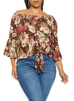 Plus Size Floral Off the Shoulder Top - 3803066592251