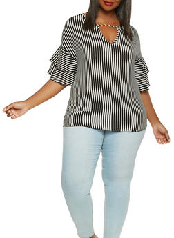 Plus Size Striped Tiered Sleeve Top - 3803066592304