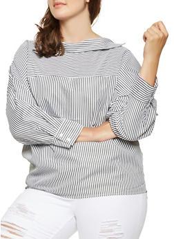 Plus Size Striped Shirt - 3803070930275