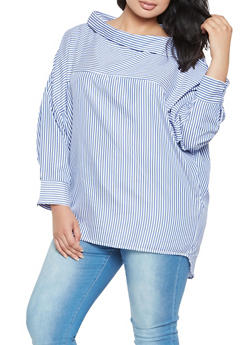 Plus Size Striped Shirt - 3803070930275