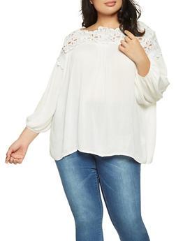 Plus Size Crochet Yoke Top - 3803070932276