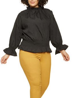 Plus Size Smocked Waist Top - 3803070932277