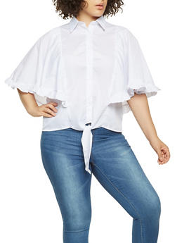 Plus Size Ruffled Poncho Shirt - 3803070933201
