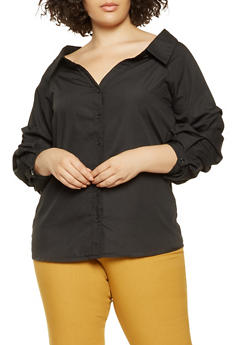 Plus Size Ruched Sleeve Button Front Shirt - 3803070935080