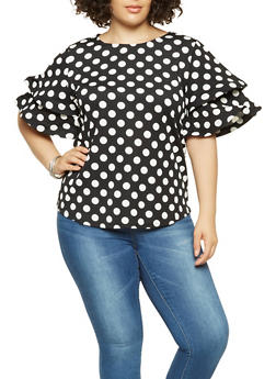 Plus Size Polka Dot Tiered Sleeve Top - 3803070935466