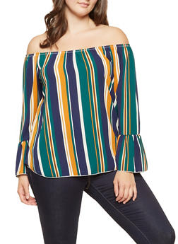 Plus Size Striped Off the Shoulder Top - 3803074012492
