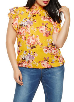 Plus Size Printed Smocked Neck Top - 3803074012508