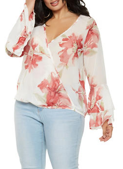 Plus Size Printed Faux Wrap Top - IVORY - 3803074012519
